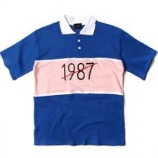 남자티셔츠 1987 배색 카라 반팔티