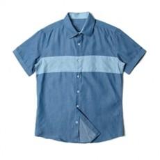 [빅사이즈]남자셔츠 절개배색 블루 반팔셔츠