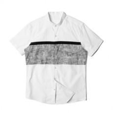 [빅사이즈]남자셔츠 차이나카라 배색 화이트 반팔셔츠