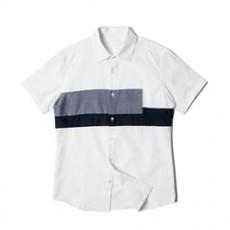 남자셔츠 투블럭 절개배색 반팔셔츠