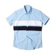 [빅사이즈] 남자셔츠 절개배색 소라 반팔셔츠