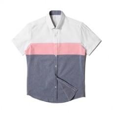 [빅사이즈]남자셔츠 투컬러 핑크배색 반팔셔츠