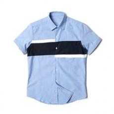 [빅사이즈]남자셔츠 블럭 배색 소라 반팔셔츠