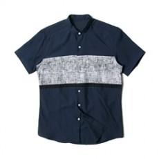남자셔츠 차이나카라 배색 네이비 반팔셔츠