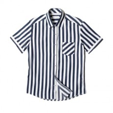 [빅사이즈]남자셔츠 스트라이프 네이비 반팔셔츠