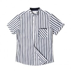 [빅사이즈]남자셔츠 차이나카라 스트라이프 네이비 반팔셔츠