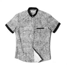 [빅사이즈]남자셔츠 차이나카라 배색 체크 반팔셔츠