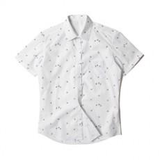 [빅사이즈]남자셔츠 큐트 자전거 패턴 반팔셔츠