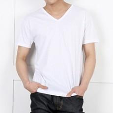 남자기본브이반팔면티셔츠
