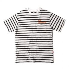 남녀공용 파스텔 단가라 라운드넥 티셔츠