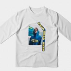 블루 전사프린팅 7부 반팔티셔츠