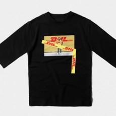 옐로 전사프린팅 7부 반팔티셔츠