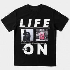 라이프온 전사프린팅 반팔티셔츠