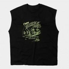 남자민소매 피싱 프린트 나시 티셔츠