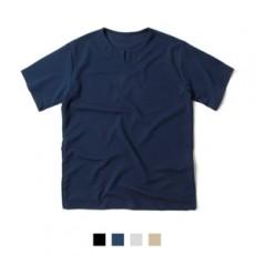남녀공용 티셔츠 넥 트임 스판 반팔티