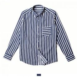 네이비 스트라이프 포켓 긴팔 셔츠