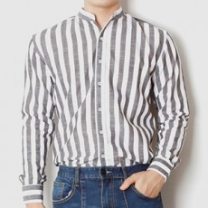 차이나카라 블랙 스트라이프 긴팔 셔츠