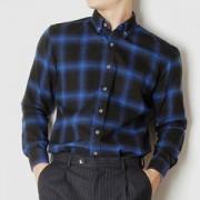 블루 체크 기모 긴팔 셔츠