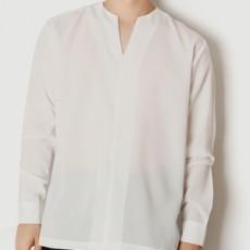 무지 절개 브이넥 루즈핏 긴팔셔츠
