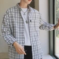 남자사각줄무늬남방셔츠