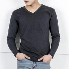 남자기본브이긴팔면티셔츠