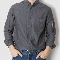 핀단가라 소매 지퍼 긴팔셔츠