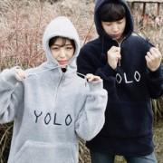 남녀공용 YOLO 뽀글이 후드티셔츠