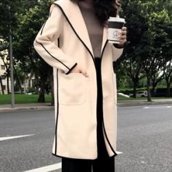 에스비 라인 후드 모직 코트