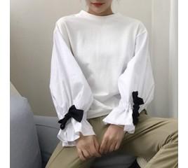 레인트 퍼프 소매배색 티셔츠