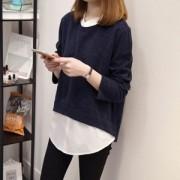 [빅사이즈]레이어드니트셔츠