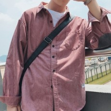 봄 코듀로이 패치 셔츠