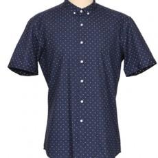 슬림핏 도트무늬 반팔셔츠