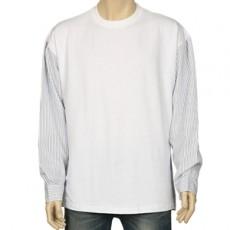 스트라이프 긴팔 배색 티셔츠