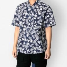 남자셔츠 하와이안 야자수 네이비 반팔셔츠