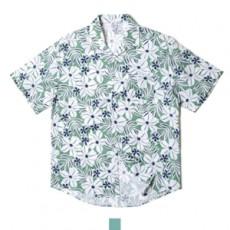 하와이안 플라워 민트 반팔셔츠