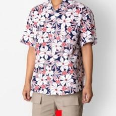 하와이안 플라워 레드 반팔셔츠