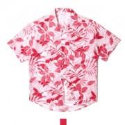 하와이안 플로라 레드 반팔셔츠
