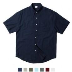 트랜디 컬러 무지 포켓 반팔 셔츠