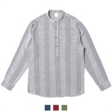 헨리넥 단추 스트라이프 남자셔츠