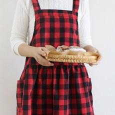 레트로체크 루즈멜빵앞치마 (2color)