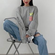 레이에 영문나염 긴팔티셔츠