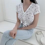 제느카 플라워 골지 스트링 반팔 티셔츠